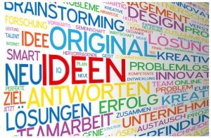 """IDEEN"" Wortwolke (Innovation Kreativität Strategie Lösungen)"